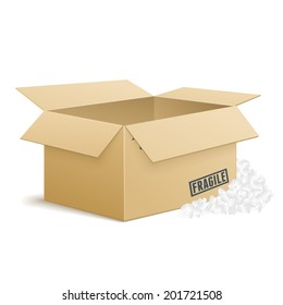 Isolated Vector Open Cardboard Box With Foam Peanuts On Transparent Background