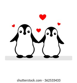 Isolated vector penguin logo. Designed animals icon. Cartoon illustration. Winter signs. Black, white and red. Graphic illustration for St.Valentines Day. Flat heart symbol. Love greeting card. Amour.