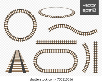 Isolated vector rails set. Railways on transparent background.