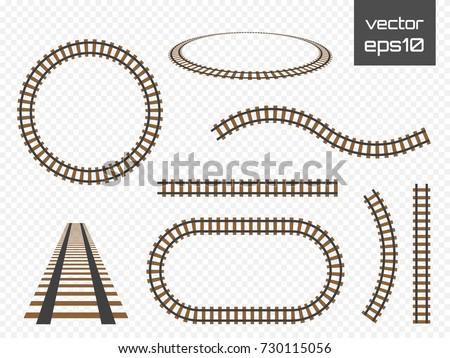 isolated vector rails set railways on stock vector royalty free
