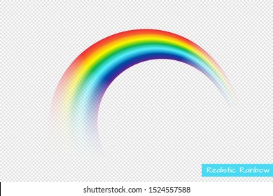 Isolated vector rainbow on transparent background. Realistic arch in the sky. Fantasy vector Illustration