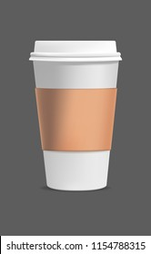 Isolated vector realistic blank paper coffee cup. Take out coffee. Eps 10 vector illustration.
