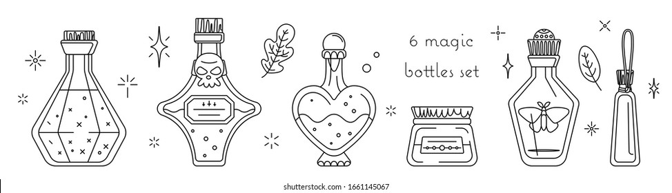 Isolated vector set of bottles with potions. Magic tinctures in variety glass flasks and jars collection. Workshop of Witch - Magic coloring book for adults