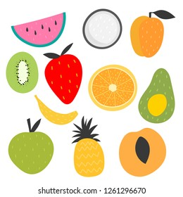 Isolated vector set of decorative fruits for print, decor. Kids illustration.