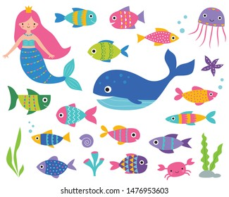 Isolated vector set – a mermaid, a whale, fishes and underwater elements