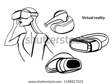 Isolated Vector Set Virtual Reality Black Stock Vector Royalty Free
