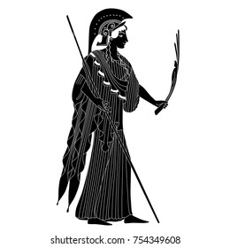 Isolated vector silhouette of ancient Greek goddess Athena. Based on authentic old vase painting.