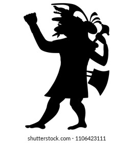 Isolated vector silhouette of ancient Peruvian Mochica warior. Based on ethnic motif of Moche Indians.