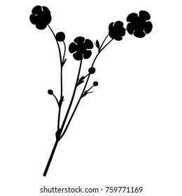 Isolated vector silhouette of a buttercup flower.