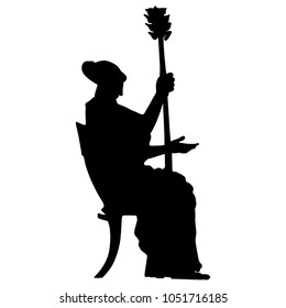 Isolated vector silhouette of a seated ancient Greek woman holding a thyrsus. Black and white linear silhouette.