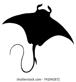 Isolated vector silhouette of stingray or manta ray.