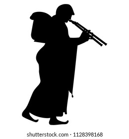 Isolated vector silhouette of a walking ancient Greek woman in long dress carrying a heavy basket and playing the double flute. Based on vase painting motif.