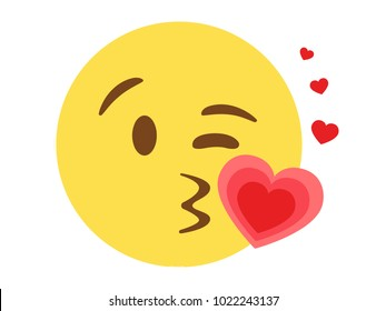 The Isolated vector smiley face with kissing mouth and heart flat icon