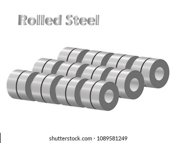 Isolated vector stocks of rolled steel coil straps in factory warehouse, metal iron sheet industry