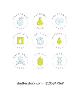 Isolated Vector Style Illustration Logo Set Badge Ingredient Warning Label Icons. GMO, Fragrance, Cruelty, Alcohol, Colorants, Petroleum, Mineral Oils, Chemicals, Gluten Free Organic Product Stickers