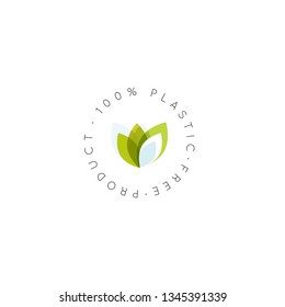 Isolated Vector Style Illustration Logo Set Badge Vegan Friendly, Fresh Eco Product, Bio Ingredient Label Badge with Leaf, 100 Percent Plastic free biodegradable Concept