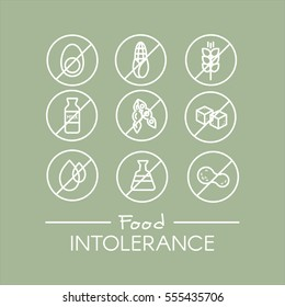 Isolated Vector Style Illustration Logo Set Badge Ingredient Warning Label Icons. Allergens Gluten, Lactose, Soy, Corn, Diary, Milk, Sugar, Trans Fat. Vegetarian and Organic symbols. Food Intolerance