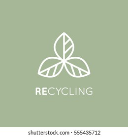 Isolated Vector Style Illustration Logo Set Badge Recycling Ecological Concept