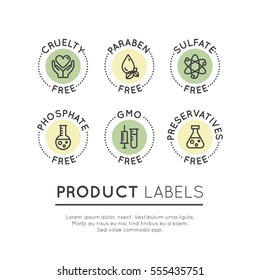 Isolated Vector Style Illustration Logo Set Badge Ingredient Warning Label Icons. GMO, SLS, Paraben, Cruelty, Sulfate, Sodium, Phosphate, Silicone, Preservative Free Organic Product Stickers