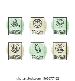 Isolated Vector Style Illustration Logo Set Badge Fresh Organic, Eco Product, Bio Ingredient Label Badge with Leaf, Earth, Green Concept, Watercolor Outline Icons