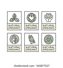 Isolated Vector Style Illustration Logo Set Badge Fresh Organic, Eco Product, Bio Ingredient Label Badge with Leaf, Earth, Green Concept