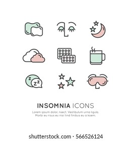 Isolated Vector Style Illustration Logo Set Badge with Sleep problems and insomnia icons, treatment and pills, sleeping person with mask, hot drink, sleepy face
