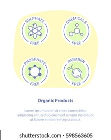 Isolated Vector Style Illustration Logo Set Badge Ingredient Warning Label Icons. Paraben, Sulfate, Phosphate, Chemicals Free Product Stickers. Flat Line Design