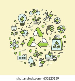 Isolated Vector Style Illustration Logo Set Badge Recycling Ecological Concept. One Page Web Site Template Banner, Graphic Poster