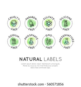 Isolated Vector Style Watercolor  Logo Set Badge Ingredient Warning Label Icons. GMO, SLS, Paraben, Cruelty, Sulfate, Sodium, Phosphate, Silicone, Preservative Free Organic Product Stickers