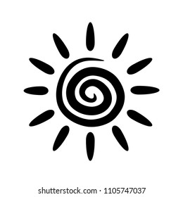 Isolated vector sun. Abstract spiral with rays. Black element for design