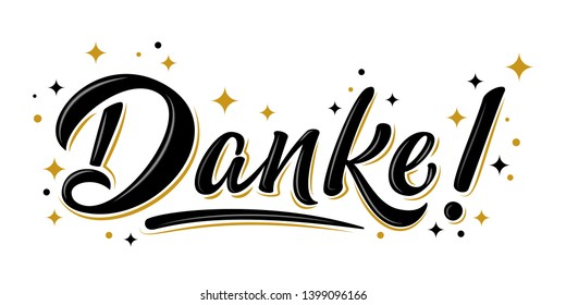 Isolated vector thank you lettering with golden stars. Handwritten modern brush lettering Danke on white. Text in german for postcard, invitation, T-shirt print design, banner, motivation poster, icon