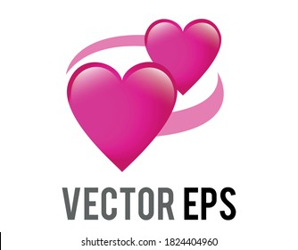 The isolated vector two revolving hearts switching places emoji icon with circular line