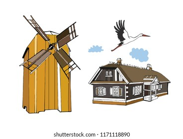 Isolated vector village, farm, house, homestead, barn, mill, stork, birds, clouds. The theme of home and homeland. Rural motive. Yellow mill. Harvest. Life outside the city.