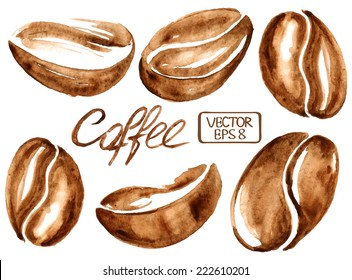 Isolated vector watercolor coffee beans icons