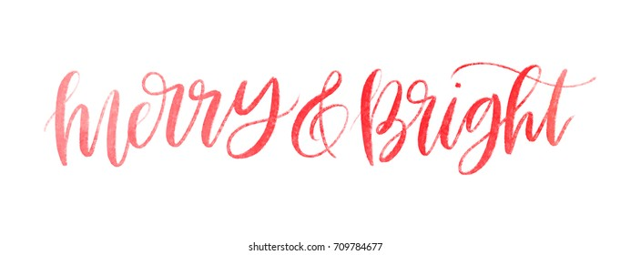 Isolated vector watercolor hand lettered holiday merry and bright phrase in textured red ink.  Quirky hand written calligraphy Christmas or xmas text on a white background.