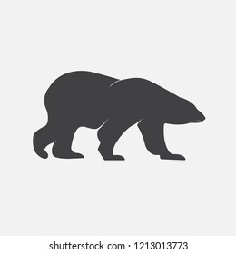 Isolated vector white bear icon on white background.