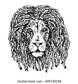 isolated vectorhead lion with dreadlocks as a symbol of the Rastafarian subculture and the image of Jha. Tattoo artwork. Vector illustration.
