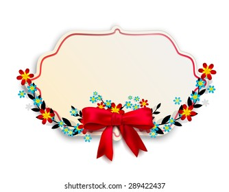 Isolated vintage banner decorated with a floral frame with a bow and red blue flowers. Vector illustration
