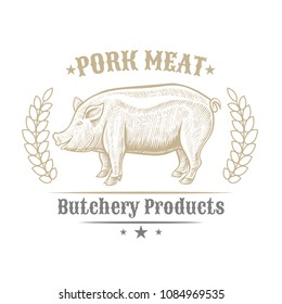 Isolated vintage golden and royal emblem of farm animal. Pig or pork meat. Butchery products market. Hand made illustration and lettering. Concept template for branding