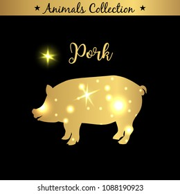Isolated vintage golden and royal emblem of farm Pork animal. Pig or pork meat. Butchery products market. Golden silhouette with lights and lettering. Concept template for branding