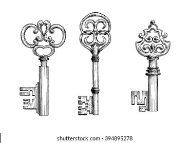 Isolated vintage medieval key skeletons in sketch style. For history, security concept or decoration design