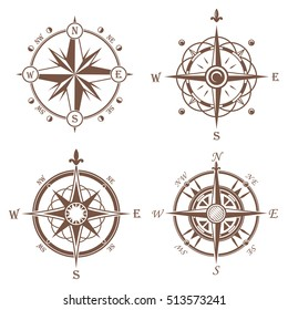 Isolated vintage or old compass rose icons. Sea or ocean navigation for ocean or sea boat, ship. Retro cartography icon or traveler compass sign, adventure rose.insignia, travel and discovery theme
