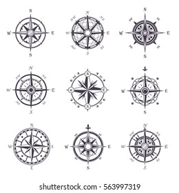 Isolated vintage or old compass rose icons. Sea or ocean navigation compass for ocean or sea boat or ship. May be used for retro cartography icon or traveler compass sign, adventure rose
