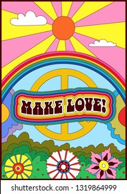 Isolated Vintage Psychedelic Poster 1960s Hippie Style Make  Love, Flowers, Sun, Pacific Sign