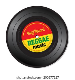 Isolated vinyl record with the text reggae music written on the record