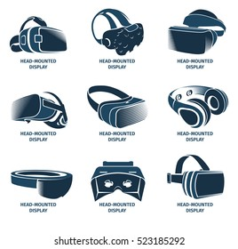 Isolated vr headset logotype set. Virtual reality helmet logo. Head-mounted display icon collection. Logo device. Futuristic gaming element. Simulation smartglasses vector illustration vr.