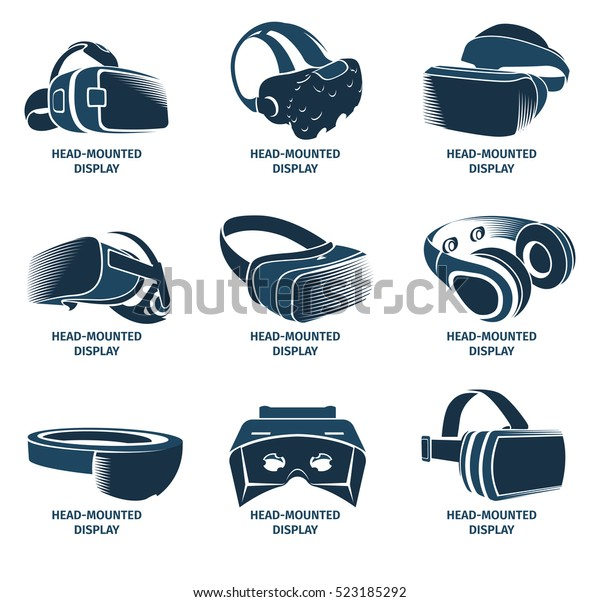 Isolated Vr Headset Logotype Set Virtual Stock Vector (Royalty Free
