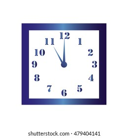 Isolated wall square clock. Vector illustration on white background. Eleven hours. Eleven o'clock. 11 o'clock.