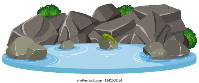 Isolated water pond on white background illustration