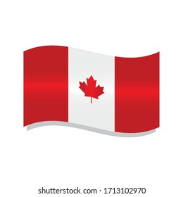 Isolated waving flag of Canada - Vector illustration